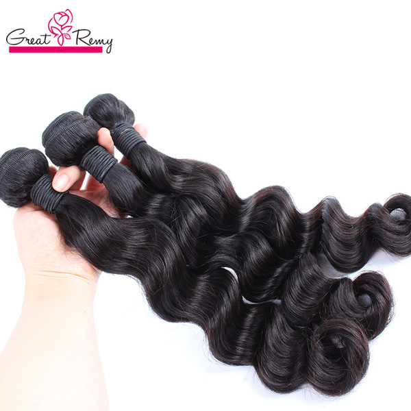 best selling Greatremy® 3pcs lot Brazilian Loose Deep Wave Virgin Human Hair Extension Loose Curly Hair Weave Weft Dyeable Mink Wavy Hair Bundles