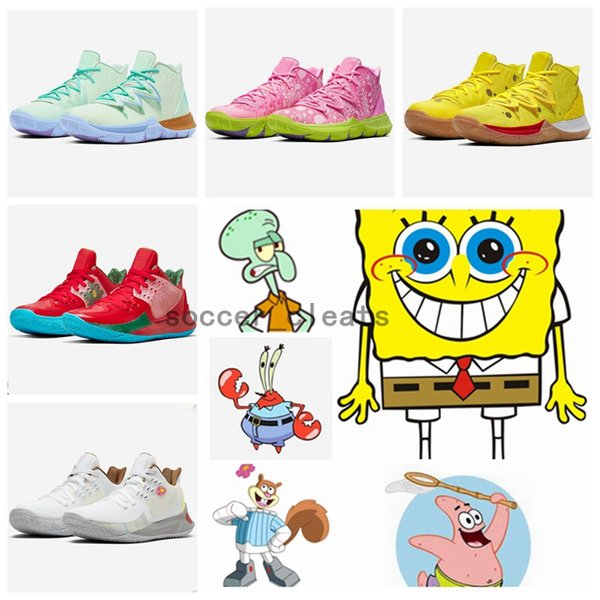 2019 Zapatos Kyrie 5 Sponge Bob Patrick Lotus Pink Squidward Top Quality Irving 5s Mens Basketball Shoes kyries des Chaussures With Box