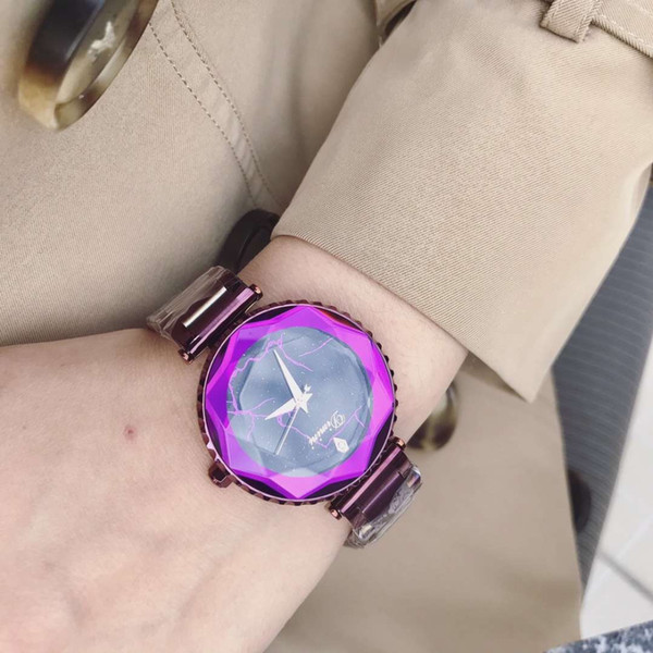 Tempting Devil Purple Women Party Dress Watches Cool Lightning Watch Anti Fading Full Steel Wrist watch Faceted Crystal Marble