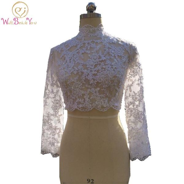 Muslim Bridal Lace Boleros Jackets High Neck Ivory White Wedding Bolero Long Sleeve Lace Beaded Bridal Jacket Shrug 2019