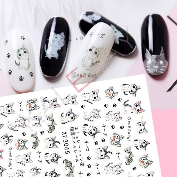 3D Nail Art Stickers Manicure Design japan cartoon cat Nail Sticker Back Glue Adhesive 3D Transfer Decals Decoration Wraps