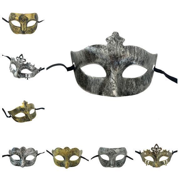 Halloween Horror Party Gold Princess Party Mask Maschera a testa piatta Jazz vintage Maschera mezza mezza antica Stile decorativo da uomo