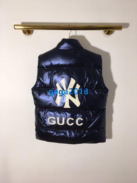 высокого класса женщины девушки жилет фугу куртка металлик мягкий вниз куртка блокировки письмо полосатый бомбардировщик пальто зимняя мода дизайн верхняя одежда