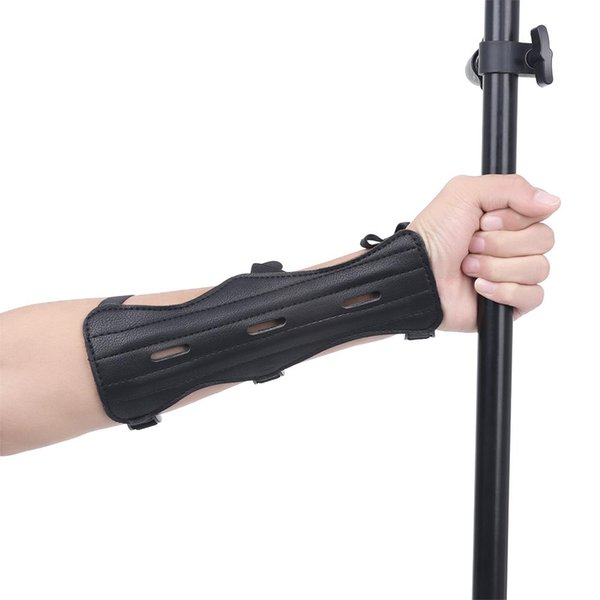 3 Strap Leather Look Shooting Archery Arm Guard Wrist Protector Safe Guard UK