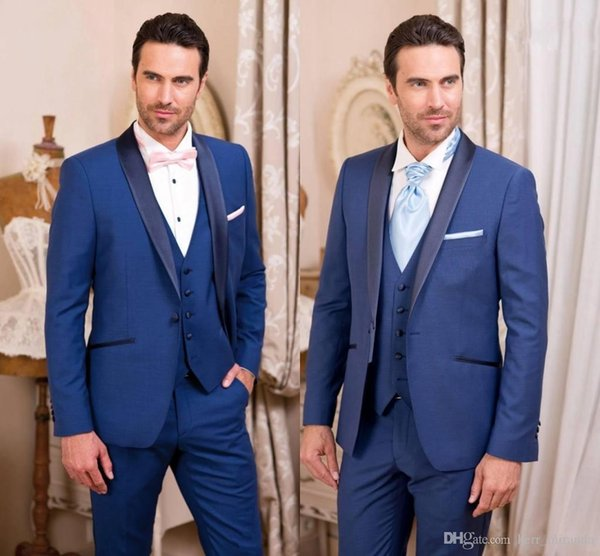 Classy Handsome Royal Blue Tuxedos Slim Fit Mens Wedding Suits One Button Groom Wear Three Pieces Formal Suit(Jacket+Pants+Vest)