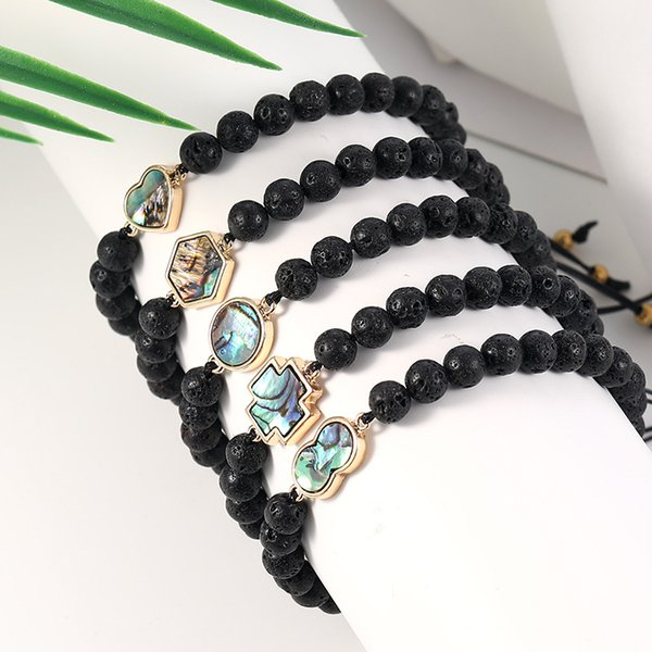 6mm Volcanic Rocks Charm Bracelets Love Heart Geometry Beads Chain Wristband Women And Man Jewelry Valentines Day Gift 4sla UU