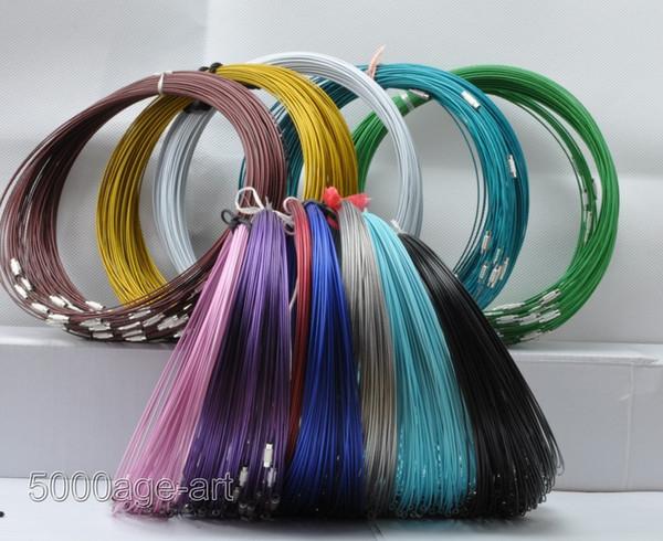 Multi Color del cable de alambre de acero Collares nuevos 100pcs / lot Cadenas de joyería 18