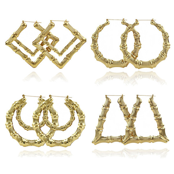 top popular 2019 Luxury Jewelry Multiple Shapes Ethnic Large Vintage Gold Plated Bamboo Hoop Earrings for Women 9 Modes free choice 2019