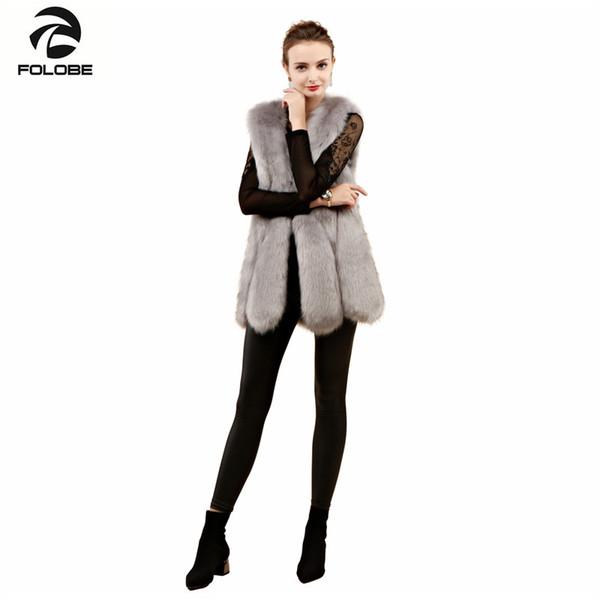 FOLOBE Winter Warme Weste Neue Ankunft Mode Frauen Importieren Mantel Pelzweste Hochwertige Faux Pelzmantel Fox Mäntel Hellgrau