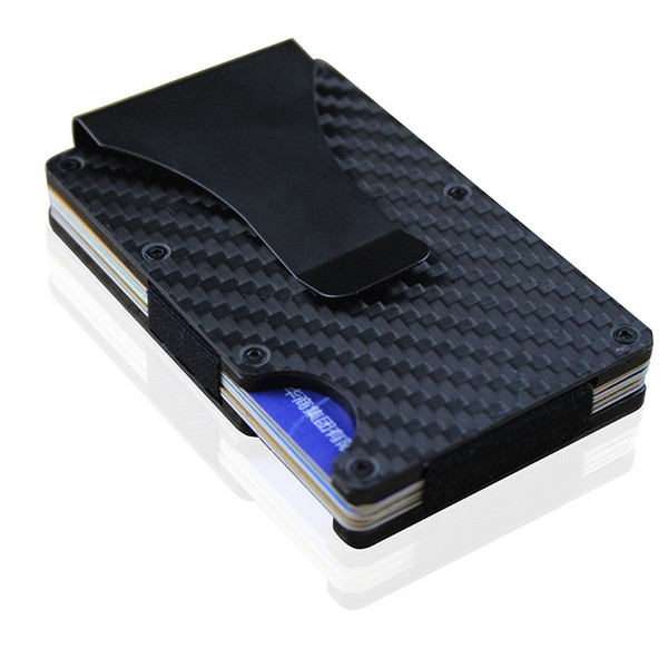 Mini Slim Wallet Money Clip Carbon Fiber And Metal Aluminum Design Credit Card Id Holder With Rfid Blocking Y19052302