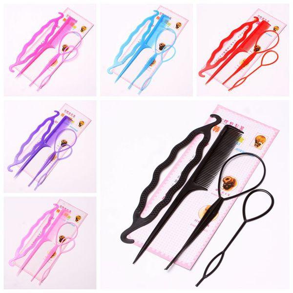 4Pcs Plastic Hair Loop Styling Hair Braiding Tools New Magic Topsy Tail Ponytail Bun Maker Clip For Women Girls Hairstyles