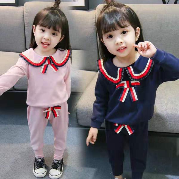 Nova marca designer de roupas de outono bebê Set Crianças Boy Girl Long Sleeve Top + Pants 2 PCs Ternos Moda Calça de Roupas