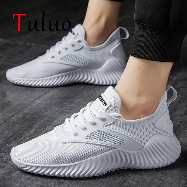TULUO Beyaz Koşu Ayakkabıları Unisex Sneakers Erkek Spor Ayakkabı Açık Breatahbke Koşu Yürüyüş Eğitmenler Zapatillas Sepeti Homme