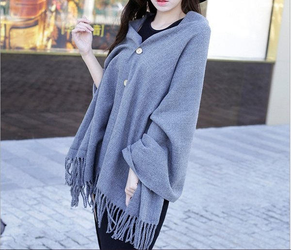 Autumn and winter new style imitation cashmere button pure color shawl scarf women's air conditioning shawl cape 200x70cm
