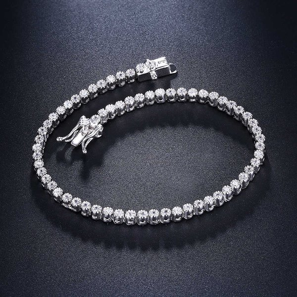 18cm Tennis Bracelets 925 Silver Jewelry 2mm Crystal Round Stones Top Quality Jewellery Luxury Sterling Silver Bracelet & Bangle C19021501