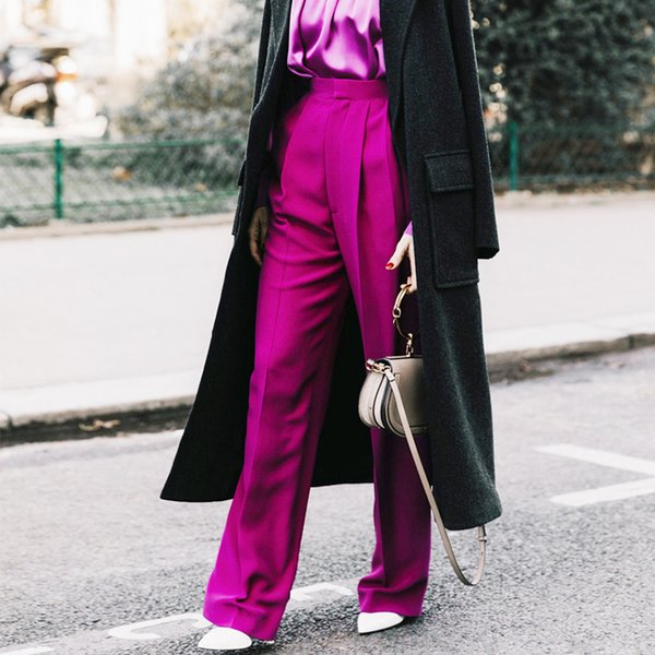 Calças longas Femininas Cintura Alta Sólida Calças Retas Para As Mulheres Tamanho Grande Moda Casual 2019 Primavera Roupas Novo