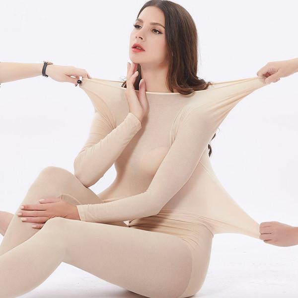 3 secondi Hot sexy sottile casuale delle donne inverno caldo biancheria intima termica Body Donne elastico della biancheria Set di abbigliamento