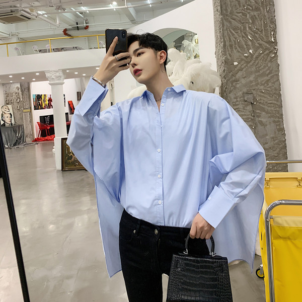 Men Women Couple Streetwear Hip Hop Loose Casual Oversized Loose Bat Long Sleeve Shirts Stage Clothes Male Harajuku Dress Shirts
