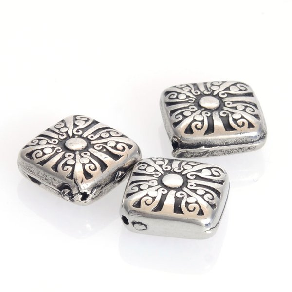 50 Pcs/Lot 17MM Plating Acrylic Antique Design Fluted Corrugated Square Beads For Diy Handmade Jewelry Making Findings