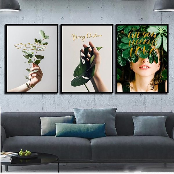 Abstrait Toile Plante Verte Belle Fille Nordique Art Print HD Affiche Mur Photo Peintures Vintage Salon Home Decor