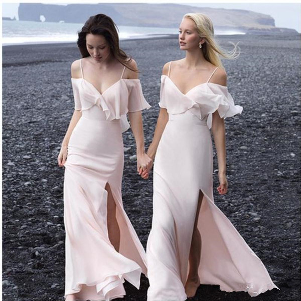 2019 Boho Bridesmaid Dresses Side Split Long Maid of Honor Gowns Spaghetti Short Sleeves Beach Dress for Bride