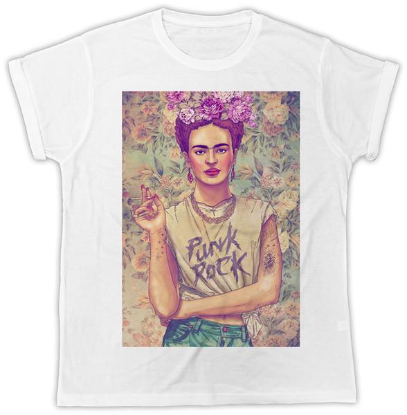 FRIDA KAHLO PUNK ROCK FLOWER IDEAL GIFT PRESENT UNISEX RETRO COOL TSHIRT colour jersey Print t shirt