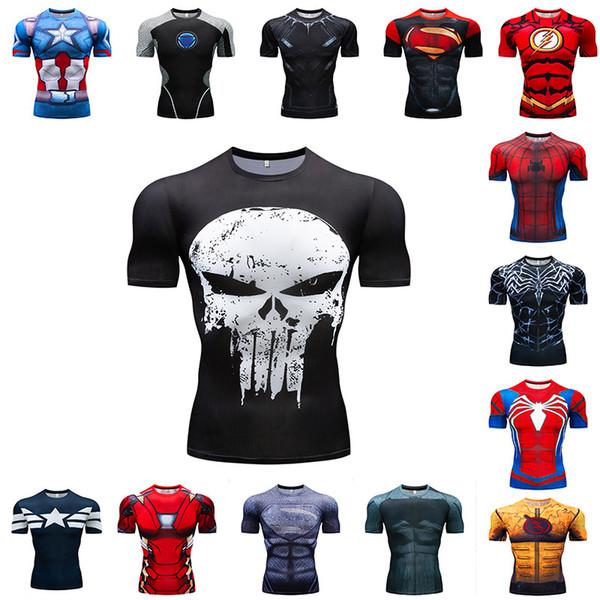 2019 Mens 3D Print Digital T-shirt Spiderman Superman Iron Man Sport and Gym Tight Fashion T-shirt Round Neck