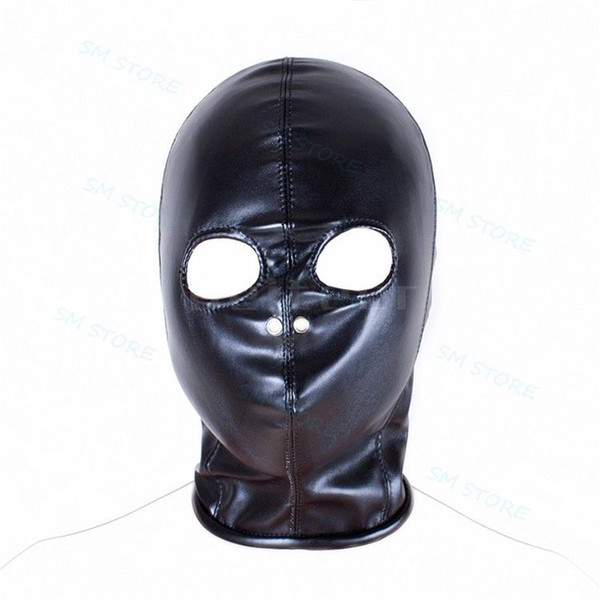 Corpo Harness Respirável Olhos Abertos Nariz Capa Máscara Preto PU Couro Role Play # R78
