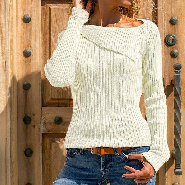 M-5XL Women/'s Casual Low Cut Plain Blouse Shirt Tops Knitted Knitwear Sweaters