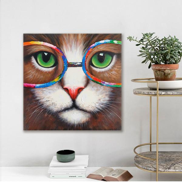 1 Unids Wall Art Picture Animal Cat Con Gafas Lienzo Impreso Pintura Para la Sala de estar Decoración Para El Hogar Sin Marco