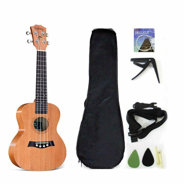 Soprano Ukelele Solid Top Mahogany 21 Inch With Ukelele Accessories With Gig Bag
