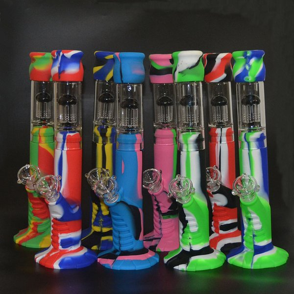 Silicone Bongs 388mm Triple Glass Percolator Jellyfish filter Tube Joint Glass Sets Glass Bong Water Pipes DHL