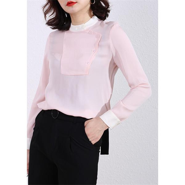 Femme été 100% soie naturelle chemisier soie réelle manches longues chemise blanche / rose vêtements de travail Top Shirts Blouses pour femmes