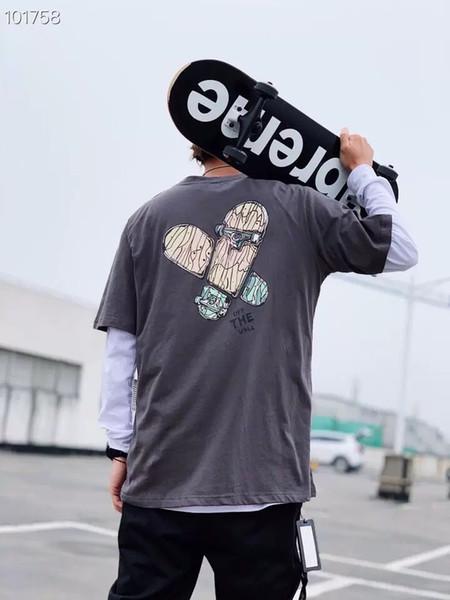 2019 carta dos homens de verão manga curta impressão t-shirt branco casal compassivo tendência coreana meia manga Top