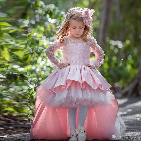 Flower Girls' Dresses for Wedding Jewel Neck Full Sleeve Ruffles Skirt Toddler Girl Pageant Gown Bow Tie Kids Clothes