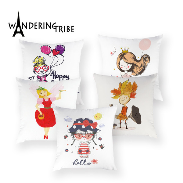 Pink Cartoon Cat Cushions Cover Cute Girl Colorful Letter Decorative Pillow Case Flower Home Decoration Throw Bed Pillows Covers