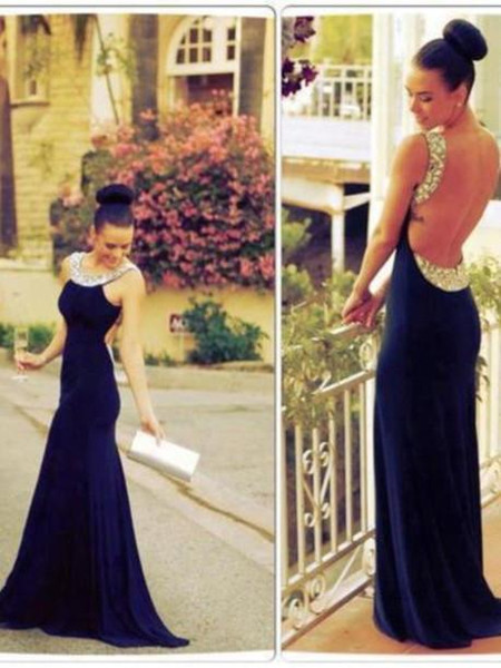 Sexy Backless Crystal Prom Dresses Dark Navy Scoop Neckline Sleeveless Long Formal Floor Length Evening Dress Fitted turkish 2019 Party Gown