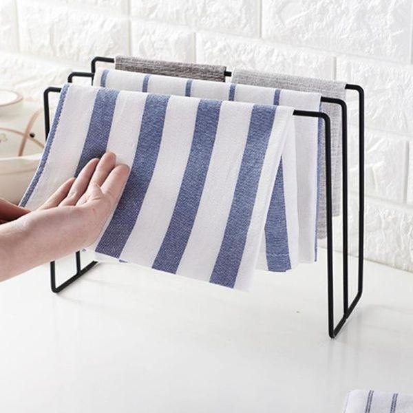 Iron Towel Holder Standing 3 Layer Towel Rack Kitchen Bathroom Bar Display Organizer Hanging Cleaning Cloth Tailgate Shelf