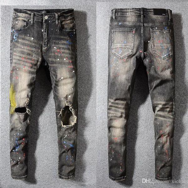 Men/'s Stretch Biker Skinny Jeans Slim Fit Retro Trousers Black Motorcycle Pants