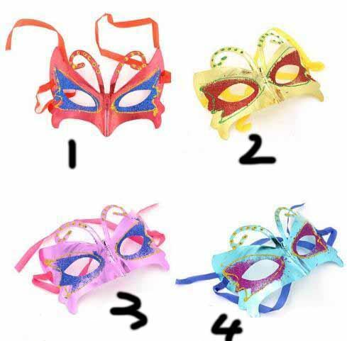 Halloween Ball Party Mask Festival Performance Projects Gold and Pink Painted Butterfly Mask Children's Ball Mask