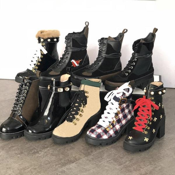 top popular Genuine Leather Women Ankle Booties Embroidered Laureate Platform Martin Boots Chunky Heel Star Trail Ankle Boot Winter Boot 2021