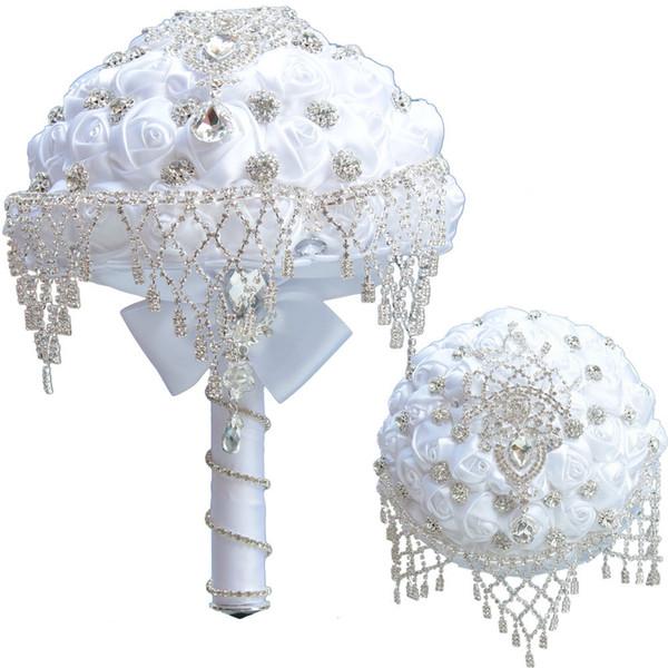 Luxus Weißer Seide Rose Hochzeit Blumen Kristall Brosche Braut Mit Blumen Quaste Voller Diamanten Stich Hochzeitsstrauß 18 CM