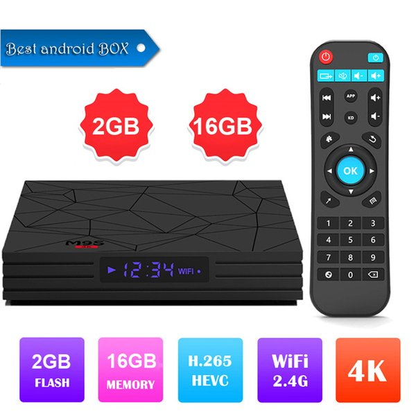 2019 Best selling M9S W5 Android 7.1 TV BOX amlogic S905W quad core 2GB/16GB built-in 2.4G WIFI 4K smart set top box Media Player
