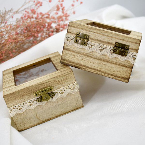 Romantic Wedding Wooden Ring Jewellery Box Supplies Fashion Rustic Wedding Ring Box Holder Jewelry Storage Case