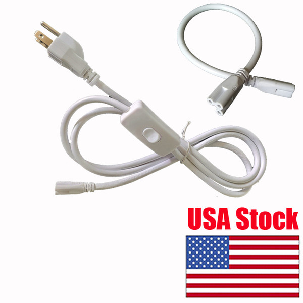 best selling Lamp Power Cable 3 proung Extension Cord power cords US Plug tube power cord lights connector 1ft 2ft 3ft 4ft 6 foot 7feet