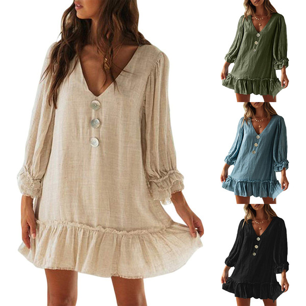 Cotton Linen Fashion Summer Solid Strap Short Mini Dress Loose Dress Sundress Women's Casual Beach Party Dress Vestido de festa