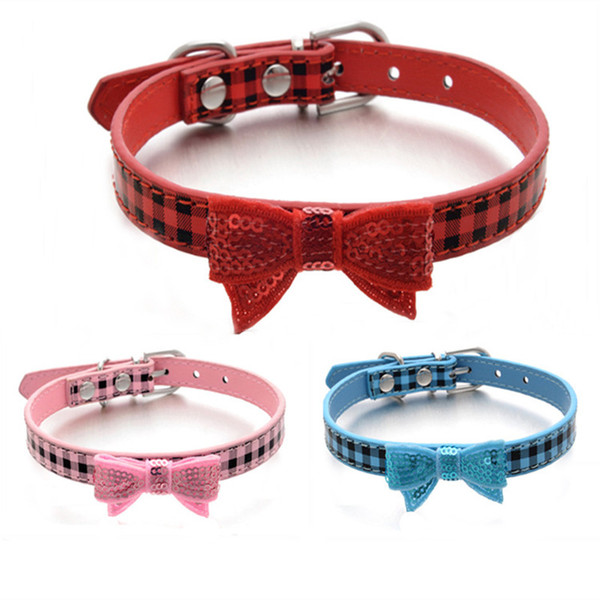 Adjustable Small Dog Collar Classic Plaid PU Leather Paillette Bowtie Knots Pet Cat Dog Puppy Collar XS S M Red Blue Pink