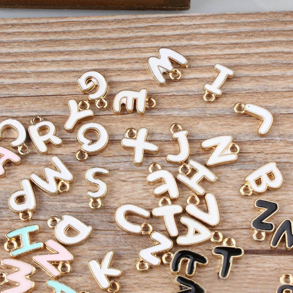 100pcs DIY jewelry bead K gold enamel small alloy accessories charms double-sided letters Charms free shipping