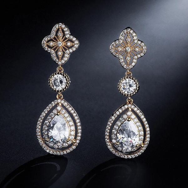 Exquisitos pendientes de boda Cristal Teardrop Pendientes nupciales largos Joyería de la boda Regalos de dama de honor Mujeres clásicas de noche Pendientes de baile