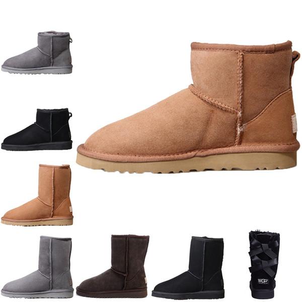 Ugg Boots Hochwertige Damen Klassisch hohe Stiefel Designer Damen Knöchel Knie Dreifach Schwarz Grau Rosa Bögen Kastanie Schnee Winterstiefel Lederstiefel